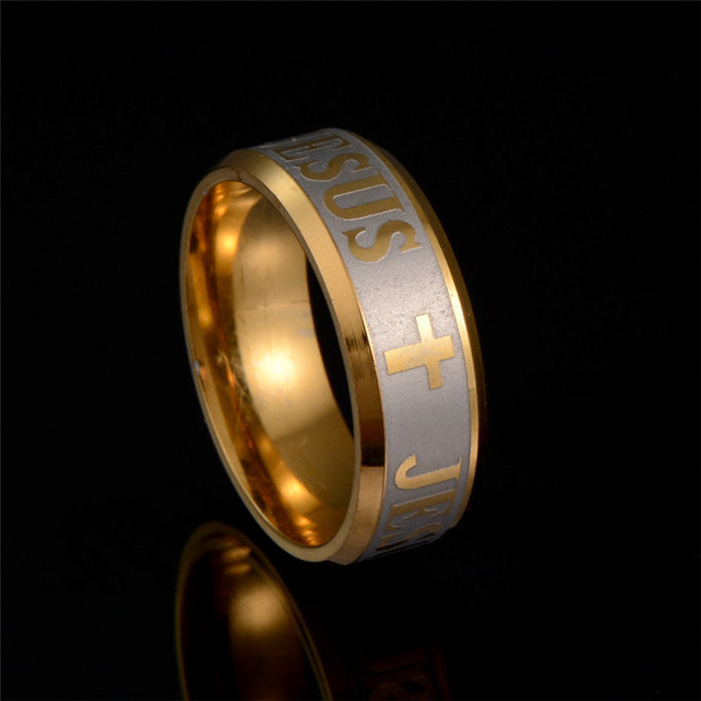 Large Size 8mm Stainless Steel Jesus Cross Prayer Ring Letter Bible Wedding Band