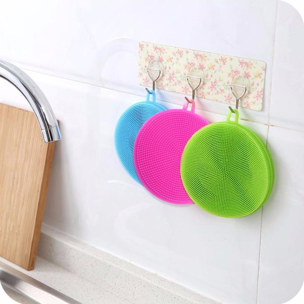 Image 3 - round Silicone Dishwashing Sponge Brush Antibacterial Kitchen  Cleaning Pad eco friendly Insulation padsSponges