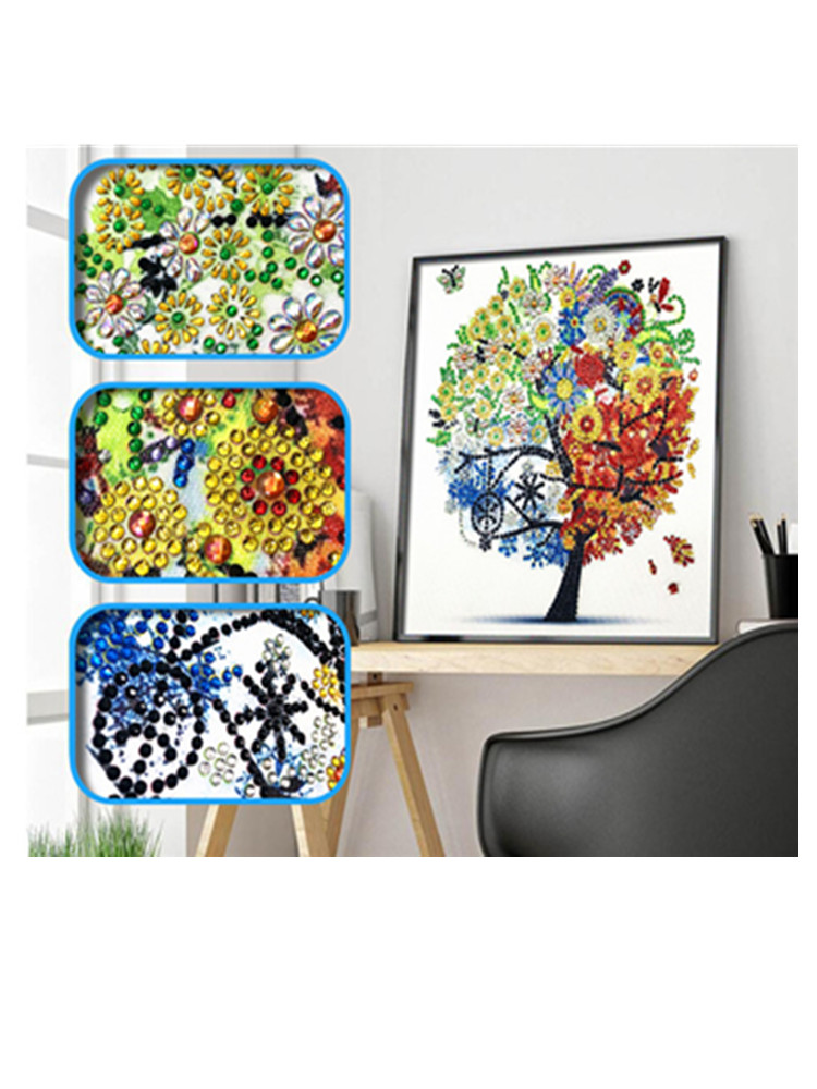 14x14inch Full Drill Embroidery Painting Wall Sticker for Wall Decor Heart Shaped Tree 5D DIY Diamond Painting