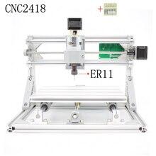 CNC 2418 + ER11 broche GRBL DIY CNC laser machine, zone de travail 24x18x4.5 cm, 3 Axes Pcb Fraiseuse, bois Routeur, Pvc Mill Graveur