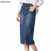 KoHuiJoo Autumn Winter Plus Size Long Denim Skirts For Women Korean Sim Slit Maxi Long Pencil