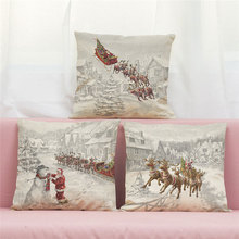 цена на 45cm*45cm Cushion cover Santa Claus rides a deer to deliver  linen/cotton  pillow case  decorative pillow cover seat pillow case