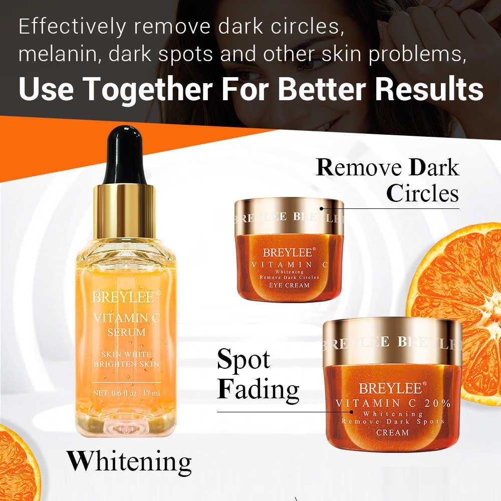 BREYLEE witamina C zestaw wybielający serum do twarzy krem do twarzy krem do twarzy usuń ciemne koła znikną piegi plamy melanina pielęgnacja skóry