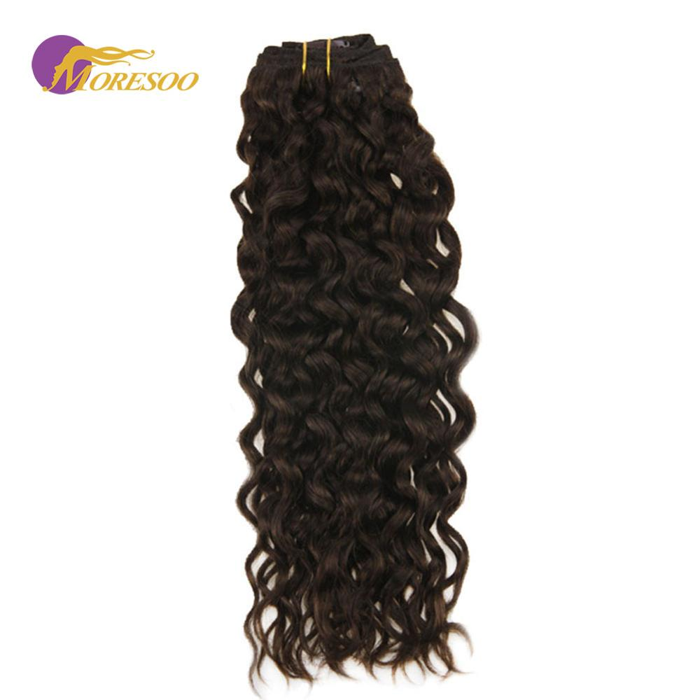 Moresoo Natural Wave Clip In Remy Human Hair 7Pcs/Set 100g Thick Full Head Dark Brown #2 Color Clip In Hair Extensions