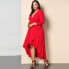 Temperament commuter comfort solid color belt knit midi dress deep V asymmetric long sleeve large size  free shipping