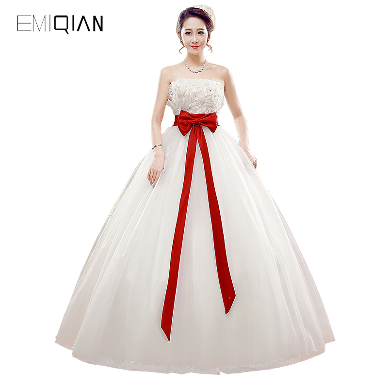 Buy white wedding dress with red sash and get free shipping on ...