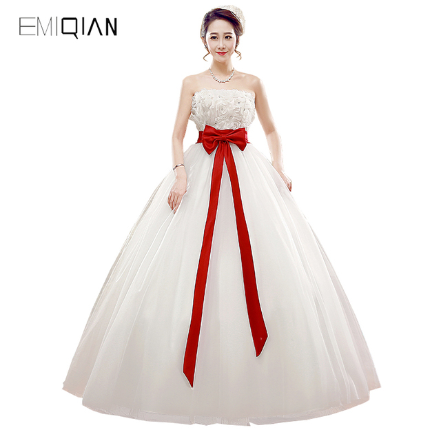 Aliexpress.com : Buy Freeshipping Real Pictures A line Strapless White  Tulle Lace Wedding Dress with Red Sash from Reliable lace wedding dress ...