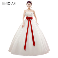 Freeshipping Real Pictures A Line Strapless White Tulle Lace Wedding Dress With Red Sash