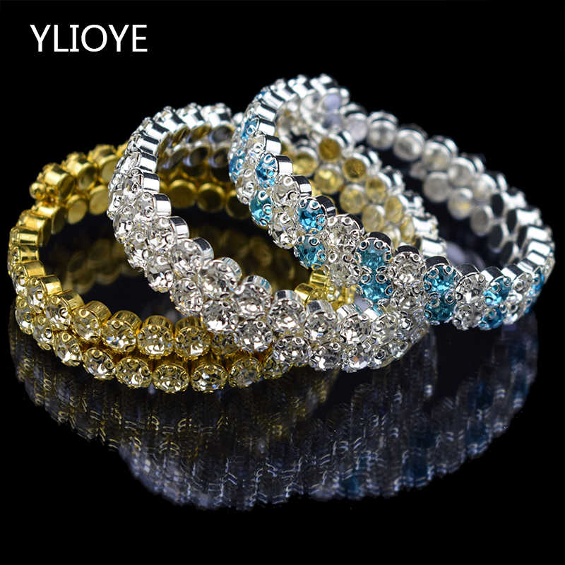 YLIOYE New Fashion Crystal 2 rows Bracelets & Bangles for Women 8 colors Rhinestone Stretching Bangle Upper Arm Bracelet Jewelry