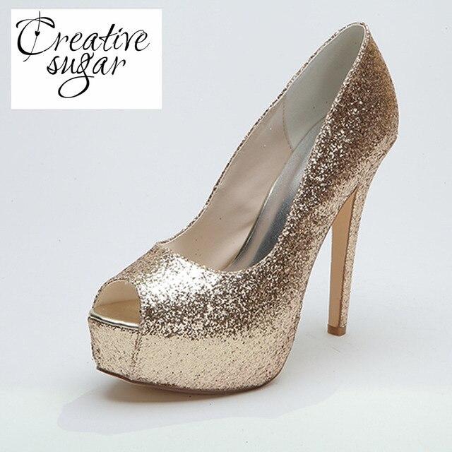9a1fea65761 Creativesugar ladies high heel platform pumps open toe gold silver glitter  metallic pumps wedding bridal heels night club shoes