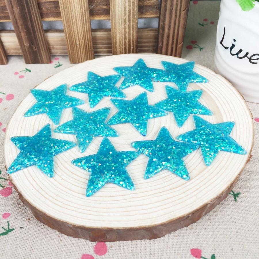 Kawaii Flatback DIY Blue Star With Glitter Resin Cabochons Flat Back Scrapbooking Embellishment Decoration Crafts Making:39mm