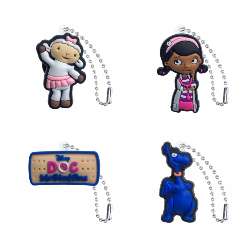 1PCS Doc Mcstuffins Key Rings Accessories DIY Cartoon Key Chains Pendant Fit For Bag/Key Rings Xmas Gifts