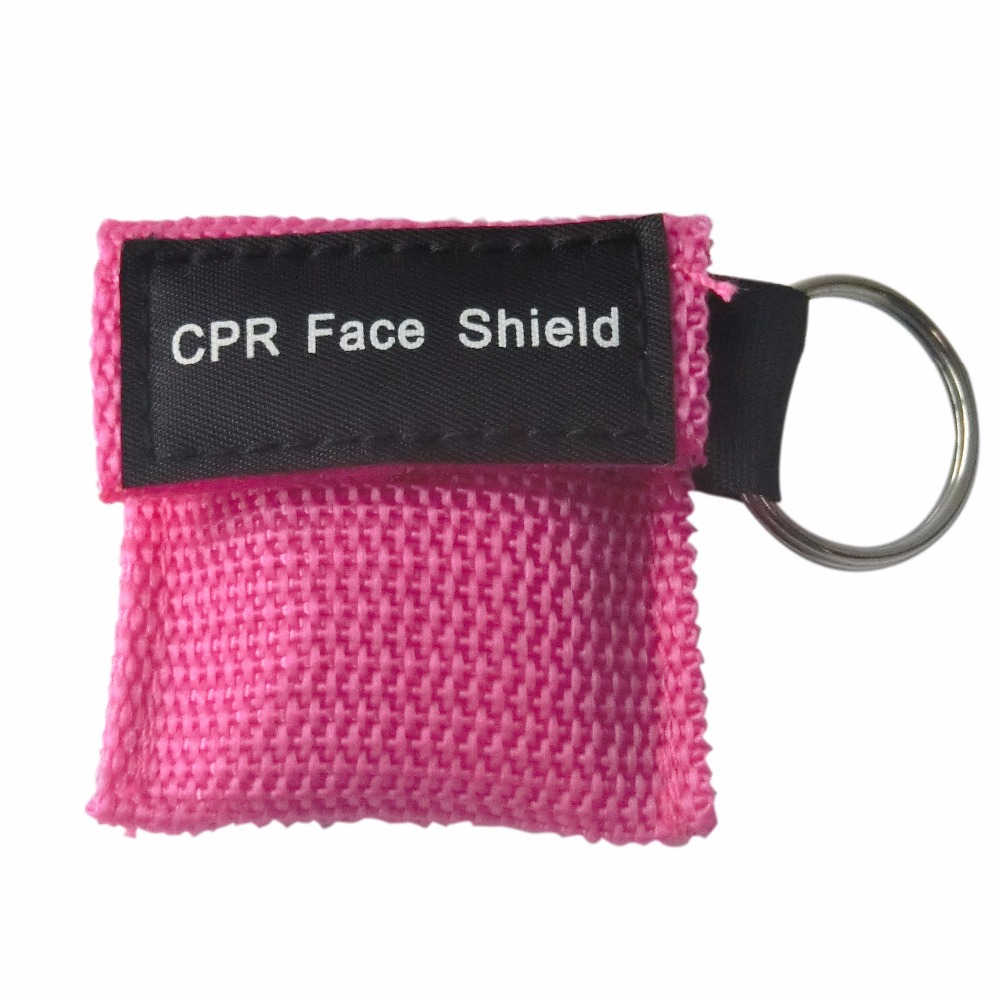 Wholesale 500Pcs/Lot CPR Resuscitator Mask Keychain Emergency Face Shield CPR Mask First Aid Rescue Kit With Pink Pouch Wraped 500pcs pack cpr resuscitator cpr face protect mask with keychain key ring for first aid training teaching kit emergency use