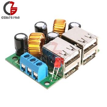 4-USB Port A5268 Step Down Voltage Regulator Buck Converter Power Transformer Supply DC 12V to 5V for USB Hub Phone Auto Car