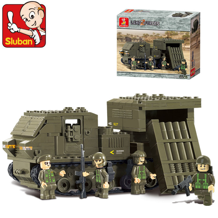 Sluban Model building kits compatible with lego city Military Rockets guard 843 3D blocks Educational toys hobbies for children