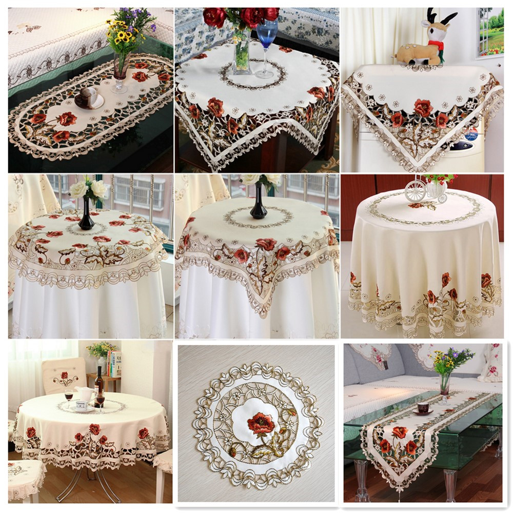 Us 5 71 48 Off Vintage Embroidered Lace Tablecloth Hollow Out Home Table Decor Runner Round Oval Placemat Square Rectangle Cover In