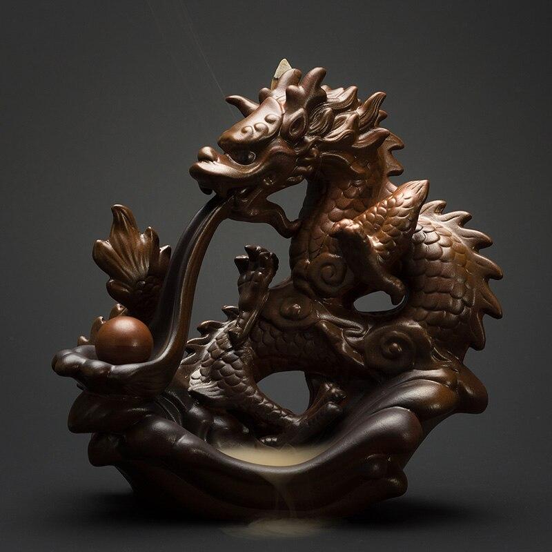 PINNY Ceramic Dragon Incense Burner Large Backflow Censer Home Decoration Crafts Sandalwood Holder
