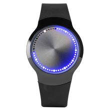 Unique Blue LED Luminous Touch Screen Clock Male Smart Electronics Casual Men Women Digital Watch Black Rubber Band Lovers Gifts