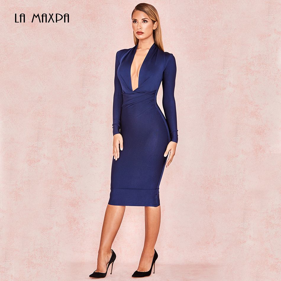 2019 Fashion New Navy Blue Sexy Bodycon Dress Deep V-neck Ladies Long-sleeved Bandage Dress Celebrity Party