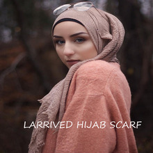 Muslim Head Hijab High Quality Scarf solid color ladies cotton Crinkle Plain Wrinkle Wrap Bubble Long Scarf Women Crinkled Shawl цена