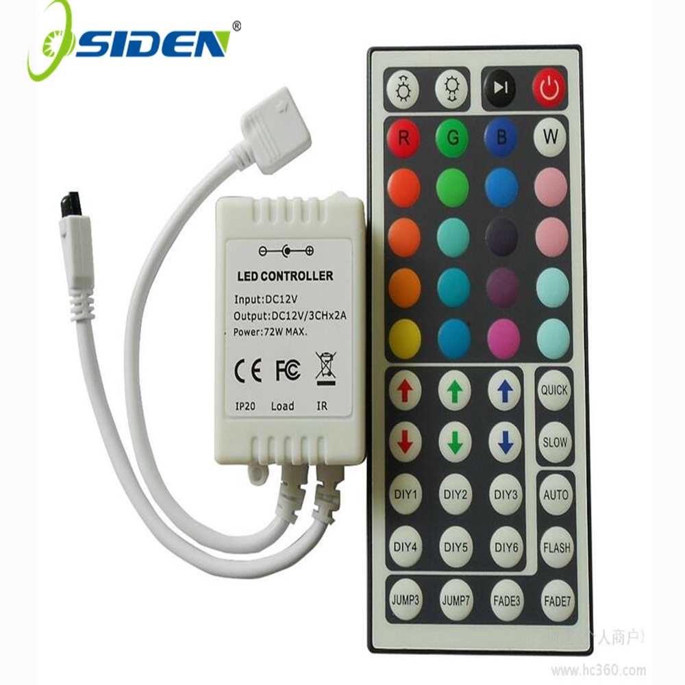 Led-kontroller 44 nøkler LED IR RGB Kontroller LED-lys Kontroller IR Fjerndimmer DC12V 6A For RGB 3528 5050 LED Strip
