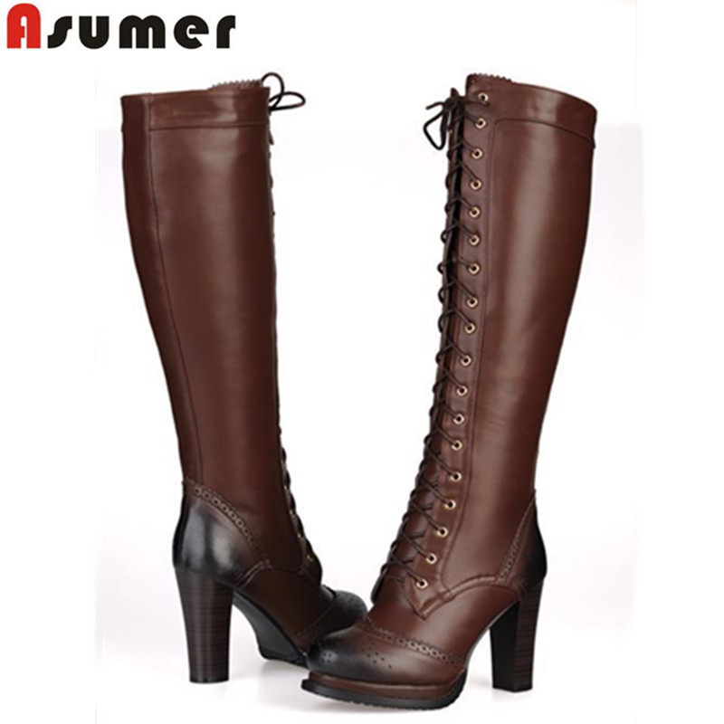 ASUMER Hot women knee high boots round toe lace up winter shoes high heels platform PU+genuine leather motorcycle boots ancient greek lace up leather suede knee high women boots round toe thick high heels fashion woman motorcycle boots shoes women