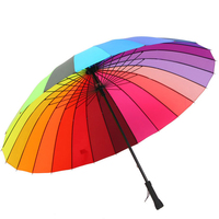 Household Merchandises daily Umbrellas hand open steel bone straight handle 24K rainbow folding umbrella free shipping sale 3