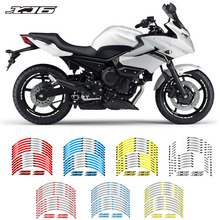 New high quality 12 Pcs Fit Motorcycle Wheel Sticker stripe Reflective Decals Rim For yamaha XJ6
