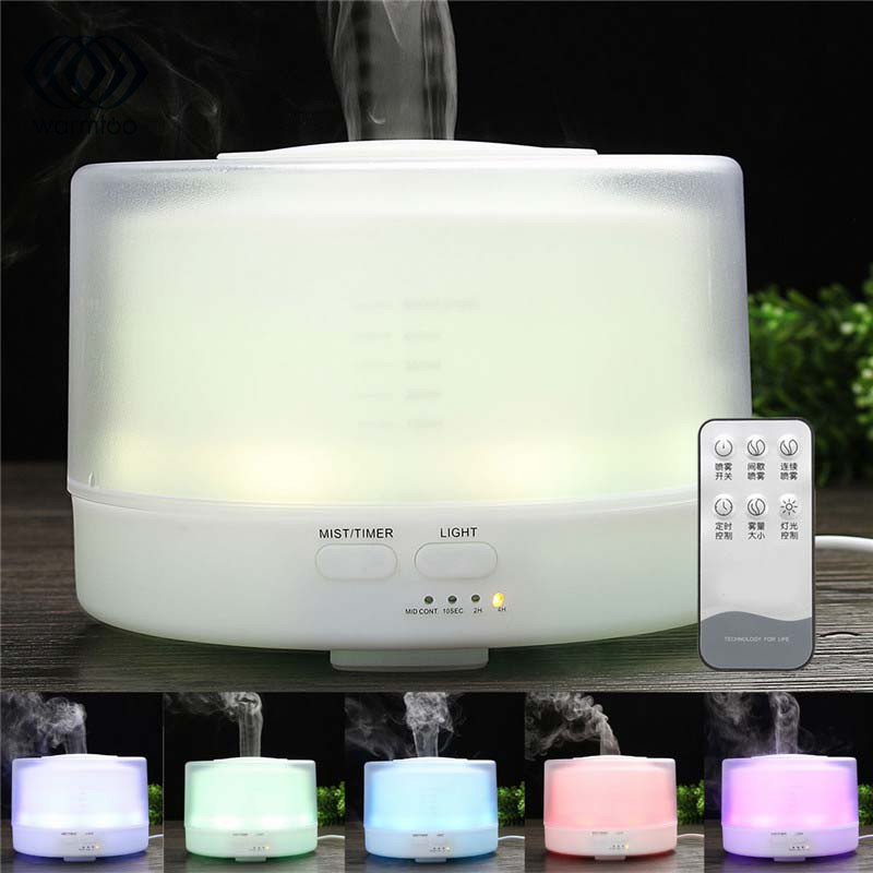 500ml Ultrasonic Aroma Humidifier Essential Oil Diffuser Aromatherapy Diffuser LED Lights Changing Mist Maker 100-240V US Plug new humidifier aromatherapy essential oil ultrasonic 70ml 100 240v 20 30 square meters 9 5 9 5 16 5cm bud shape