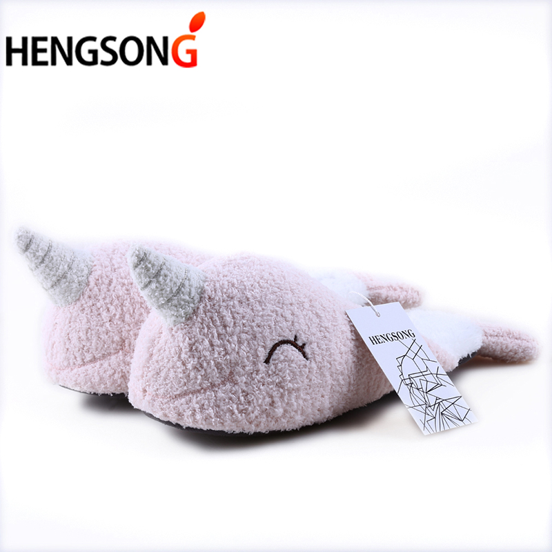 Women Winter Slippers Soft Bottom Indoor Short Plush Home Slippers Narwhal Shape Funny Shoes Pantuflas Mulher Chinelo OR986080
