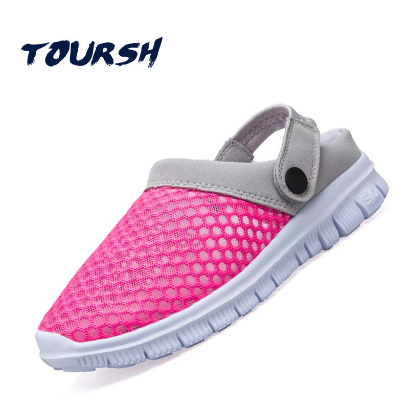 TOURSH 2018 Summer Women Mesh Sandals Ultra-Light Breathable Beach Flip Flops Pink Casual Female Shoes Zapatos Mujer Footwear boys girls antislip usb sandals summer cut out comfortable flats beach sandals kids children breathable led shoes with light