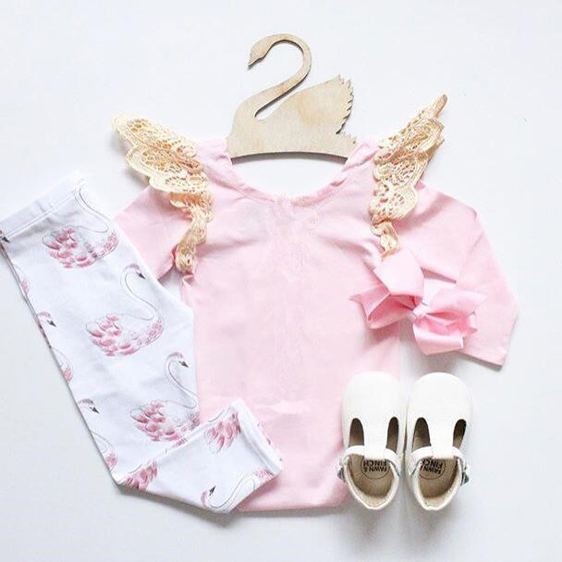 2017 NEW Baby girl clothes set Angel's Wing Pink T-Shirt +Leggings/pants 2pcs suit Little Swan Cotton Infant girls clothing set pink swan 100