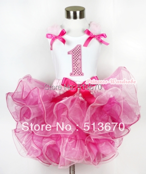 Hot Light Pink 8 Layered Pettiskirt Pink Sparkle Number Ruffle Pink Bow Top MAMG582