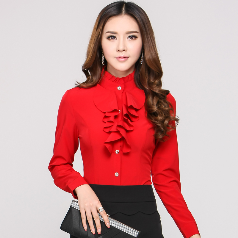 New 2015 Spring Autumn Formal Red Blouses Women Long ...