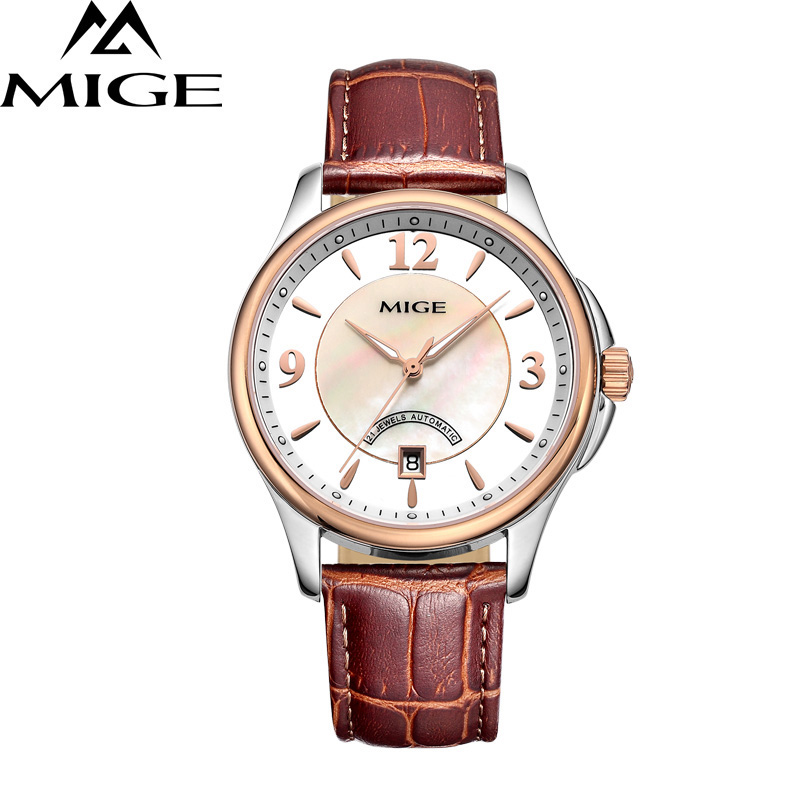 MIGE Fashion Watch Men Women Mechanical Watches Synthetic Sapphire Crystal Calendar Hollow Cowhide Leather Strap Butterfly Clasp just star brand new design fashion antlers handle diamonds pu leather women s handbag ladies girls shoulder cross body flap bag