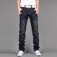 2016 New Pockets Design Solid Straight Biker Jeans Slim Mid Long Casual Jeans Homme Male High Quality Brand Denim Trousers