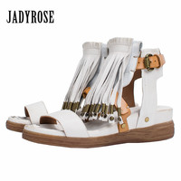 Jady Rose White Women Genuine Leather Sandals Thick Heel Comfortable Wedge Shoes Female Fringed Platform Shoes