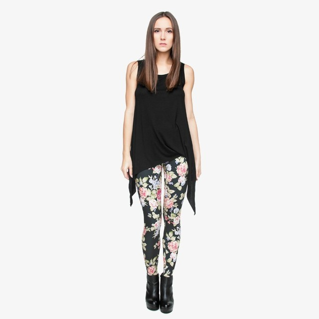 Black Leggings with Neat Flower Print