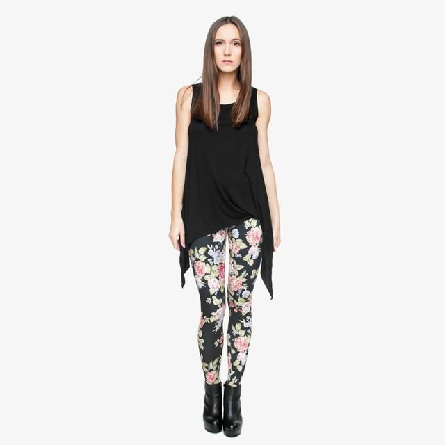 Black Leggings with Neat Flower Print