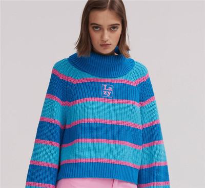 Womens Striped Roll Neck Jumper Sweater with Embroidered Letter Lazy Turtleneck Oversized Chunky Knit Pullovers