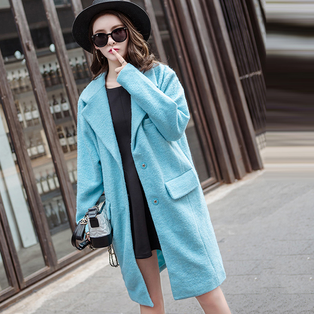 af3a765877e92 manteau femme bleu ciel,Aliexpress.com  Acheter Cheerart 2017 Hiver Laine  Long Cardigan Manteau Femmes Avec ...