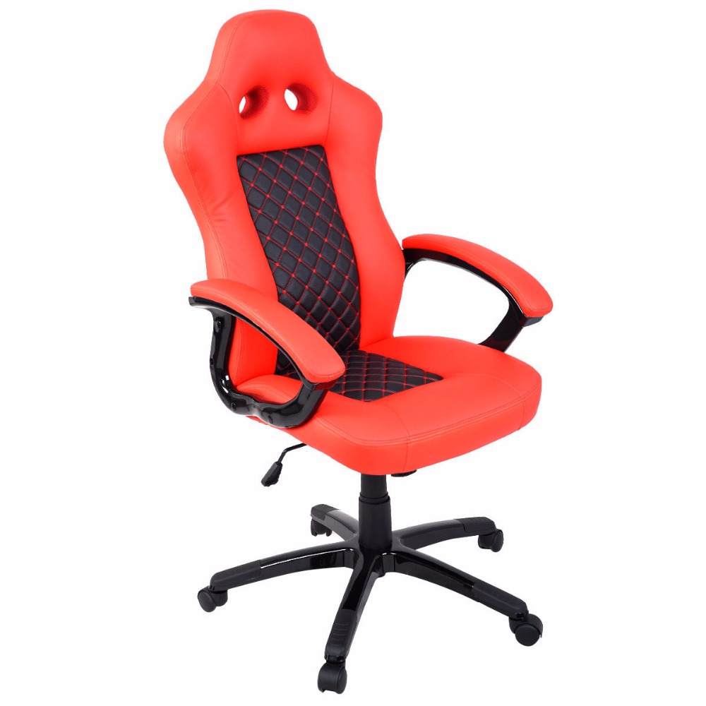 Goplus High Back Race Car Style Bucket Seat Office Desk Chair New Modern Red Pu Leather Gaming Chair HW51423 racing bucket seat office chair high back gaming chair desk task ergonomic new hw54987ltbl