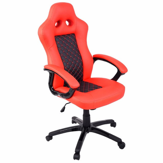 desk chair high 24 7 chairs goplus back race car style bucket seat office new modern red pu leather gaming hw51423