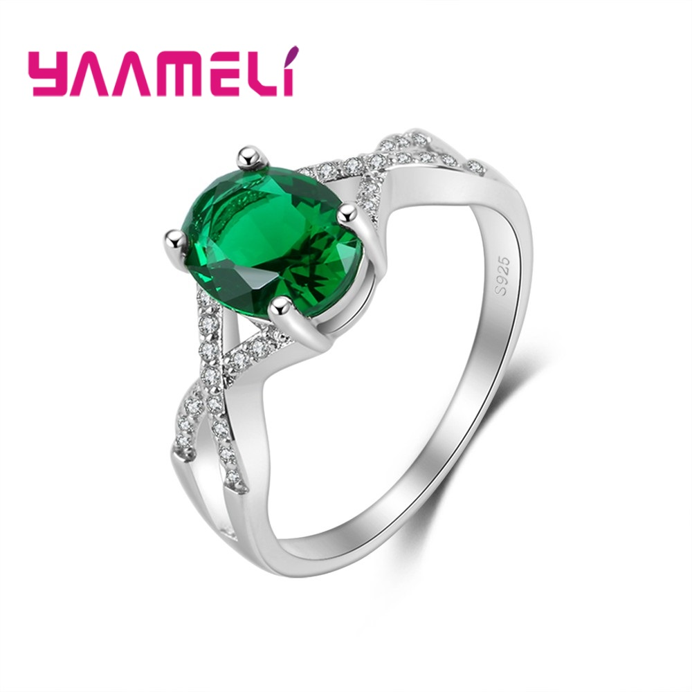 YAAMELI Silver Rings For Women 925 Sterling Green Oval Austrian Crystal Wedding Party Cubic Zirconia Finger Ring Jewelry Ladies