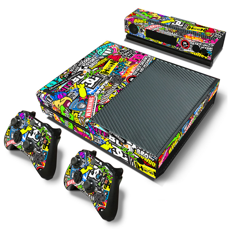 Bomb Graffiti Style Vinyl Skin Sticker Cover For Xbox ONE Console With 2 Controllers Protective Skin Decal For Xbox One Gamepad(China)
