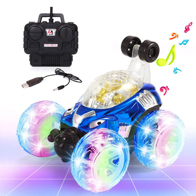 Electric Remote Control Car 360 Degree Rotate LED Luminous Music Rechargeable Climbing RC Cars Off-Road Vehicle Toys YH-