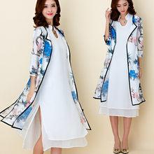 F ~ 3XL Plus Size Summer Fashion Elegante Risvolto Maniche 3 4 Due pezzo di  Cotone Chiffon Peony Stampa Spaccatura Lungo Twinset. 2960d8439c8