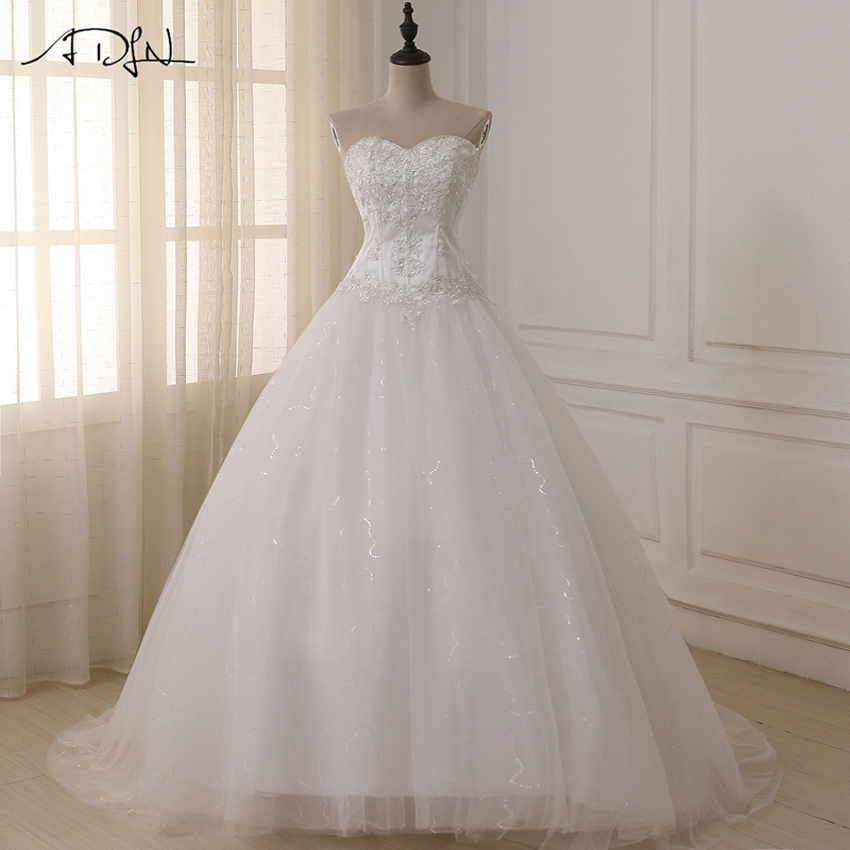 Abiti da sposa ADLN Vestidos de Novia Off the Shoulder Sweetheart Tulle Abito da sposa lungo Lace Up Torna Plus Size Disponibile