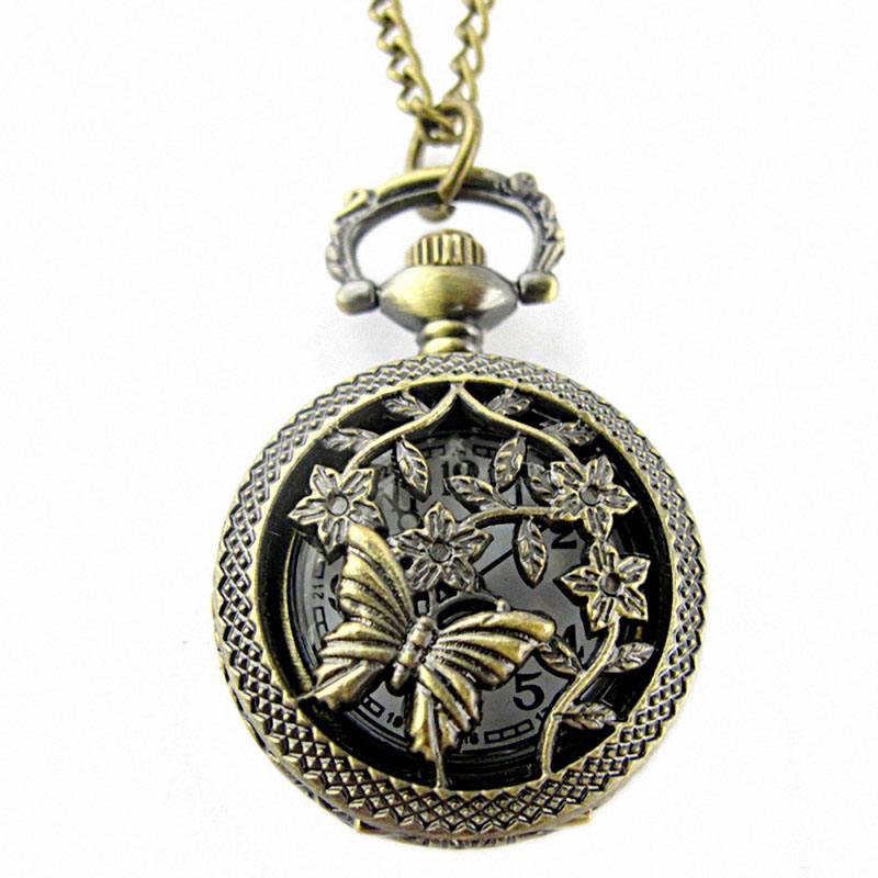 цена #5001 Fashion Bronze Butterfly Pocket Watch Retro Bronze Butterfly and Flower Openwork Cover Pocket Quartz Watch