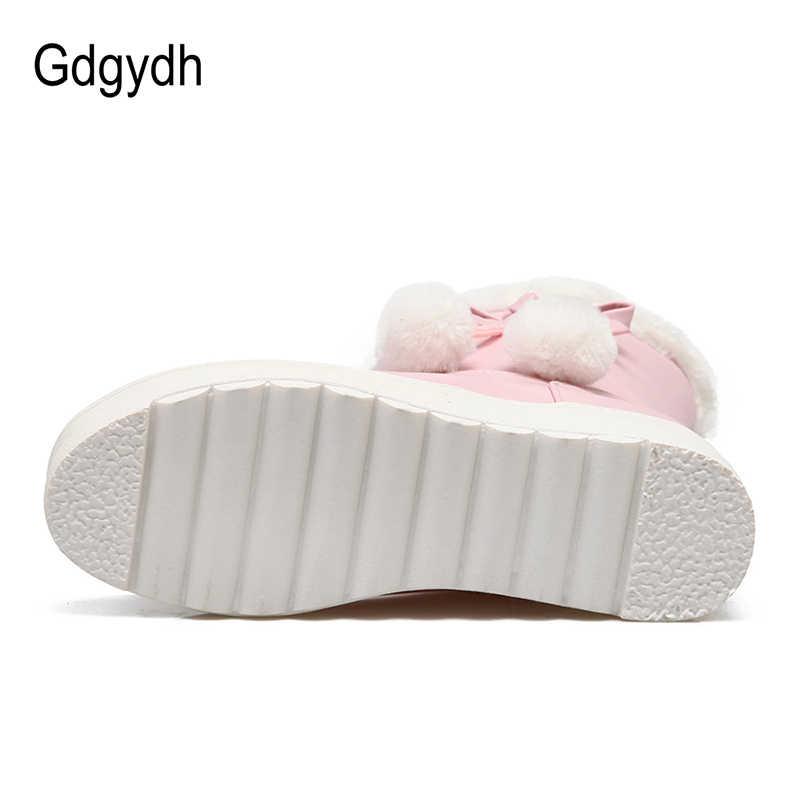 Gdgydh Kalınlaşma Peluş Kadın Kışlık Botlar Yüksekliği Artan Knot 2018 Bayanlar platform ayakkabılar Kış sıcak ayakkabı Artı Boyutu